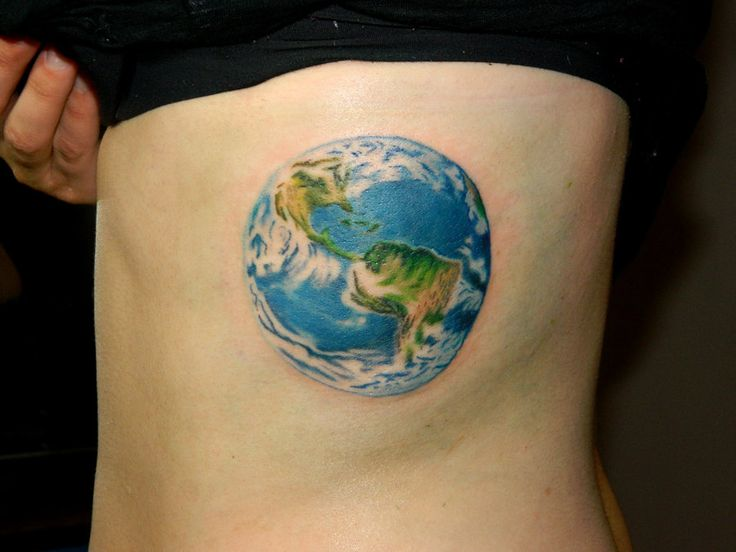Colorful globe tattoo