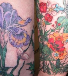 Colorful great looking poppy tattoo on leg