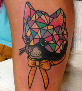 Colorful kitty crystal tattoo on leg