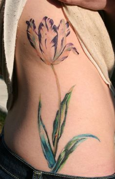 Colorful tulip tattoo
