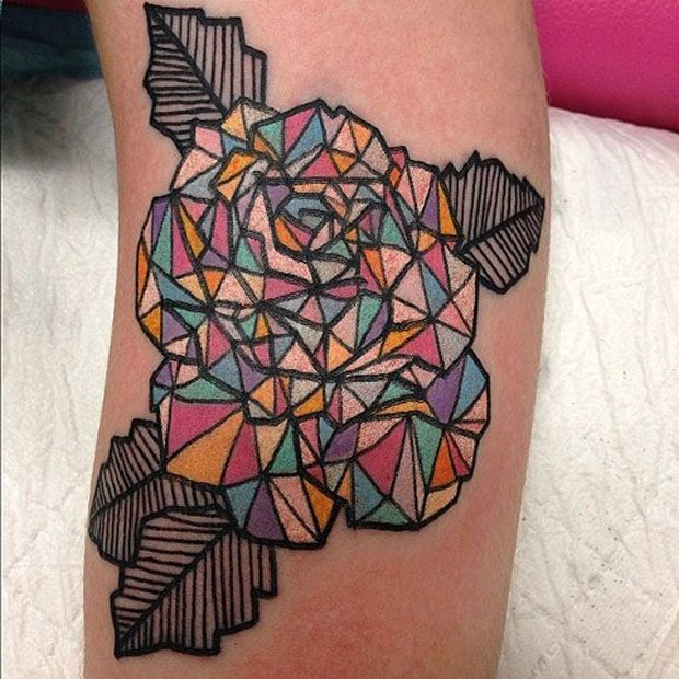 Cool colorful origami tattoo on leg