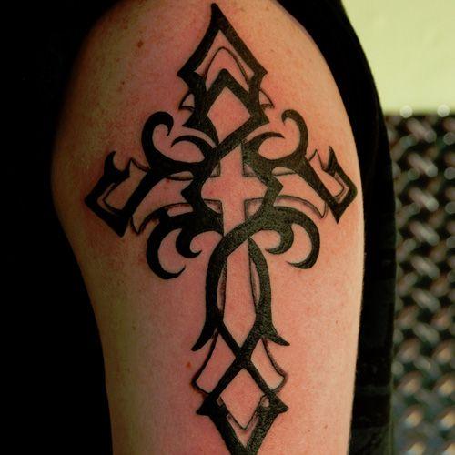 Cool cross tribal tattoo on arm
