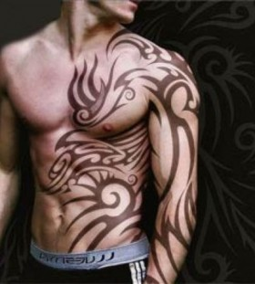 Cool simple men's tribal tattoos on arm