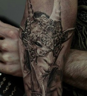 Cruel man and animal tattoo by Dimitry Samohin