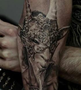 Cruel man and animal tattoo by Dimitry Samohin