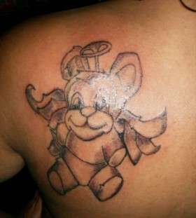 Cute angel teddy bear tattoo on shoulder
