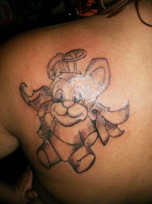 Cute angel teddy bear tattoo on shoulder