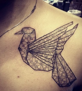 Cute black bird origami tattoo on shoulder