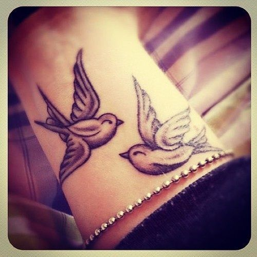 Cute couple of birds tattoo