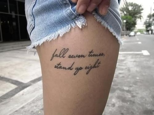 Cute lettering quote tattoo on leg