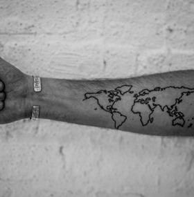 Cute lovely black map tattoo on arm