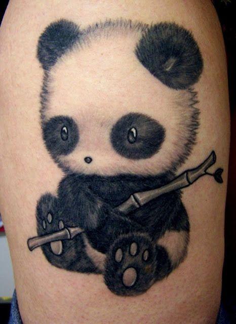Cute pand tattoo on leg