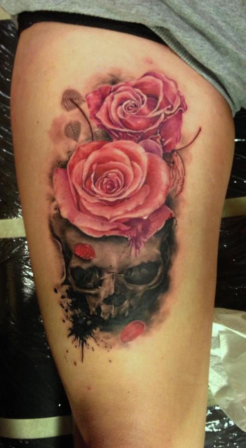 Cute pink rose tattoo on leg