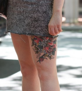 Cute roses tree tattoo on leg