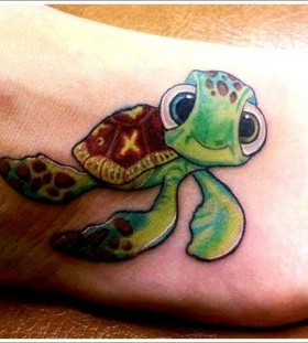 Cute turtle tattoo on foot