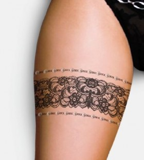 Cute women's lace tattoo on leg