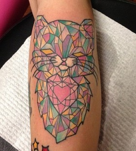 Cutest cat crystal tattoo on leg