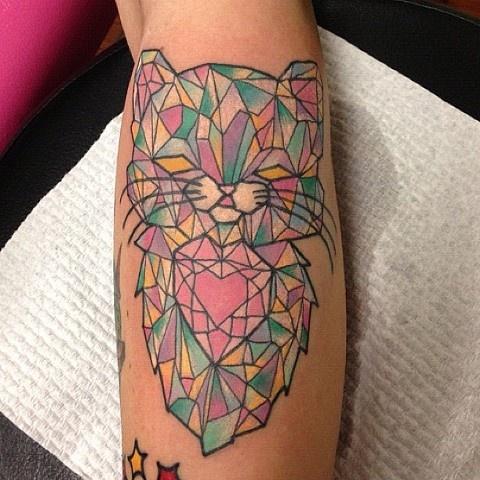 Cutest cat crystal tattoo on leg