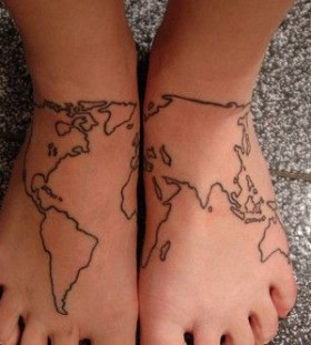 Dainty-skulls back map tattoo on legs