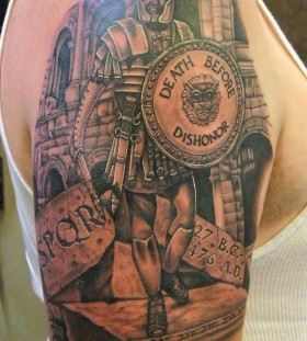 Death before soldier tattoo on arm