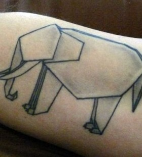 Elephant of origami tattoo on arm