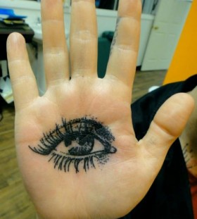 Eye on palm tattoo by Xoil