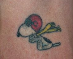 Flying snoopy tattoo