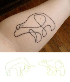 Funny animal line tattoo on arm
