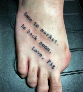 Funny black quote tattoo on arm
