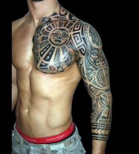 Funny men's tribal tattoo on arm