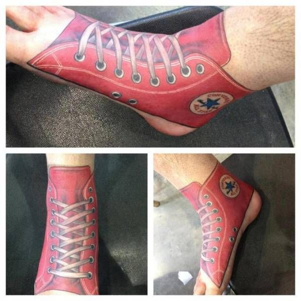 Funny red tattoo with shoes