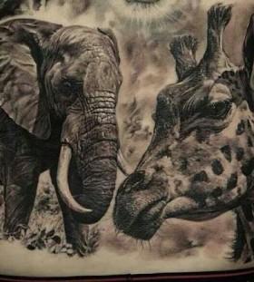 GIraffe and elephant tattoo by Dimitry Samohin