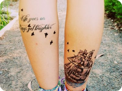 Get up ship and quote tattoo on leg