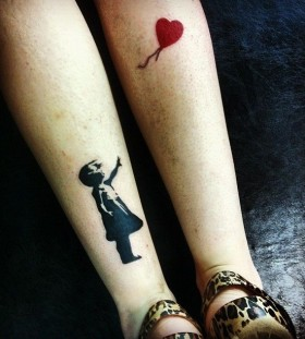 Girl and red balloon incredible tattoo