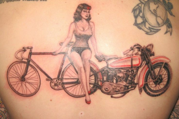 Girl with bike and bicycle tattoo on back