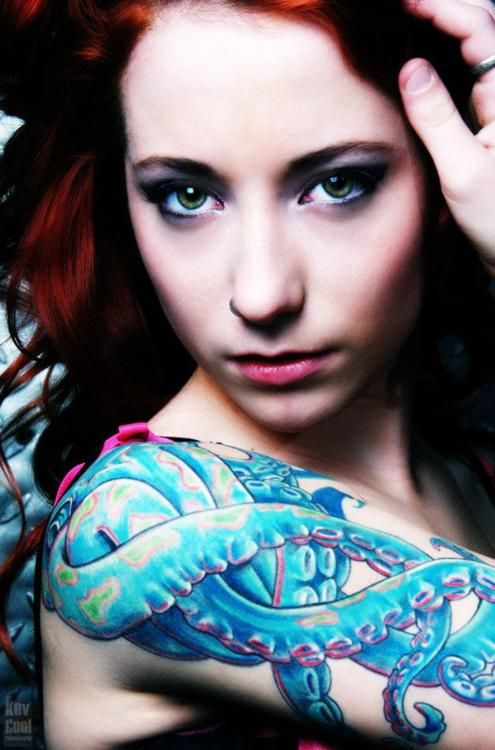 Girl with colorful octopus tattoo