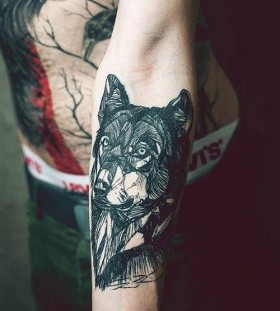 Girl with wolf tattoo