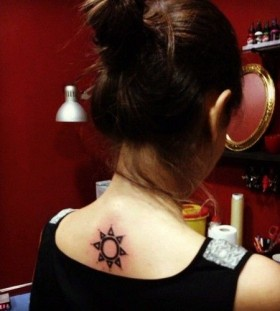 Girl's ornaments back sun tattoo