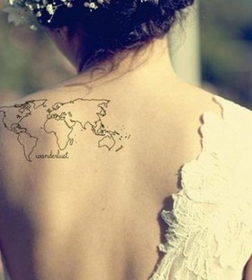 Globe tattoo on back