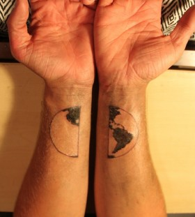 Globe tattoo on both hands