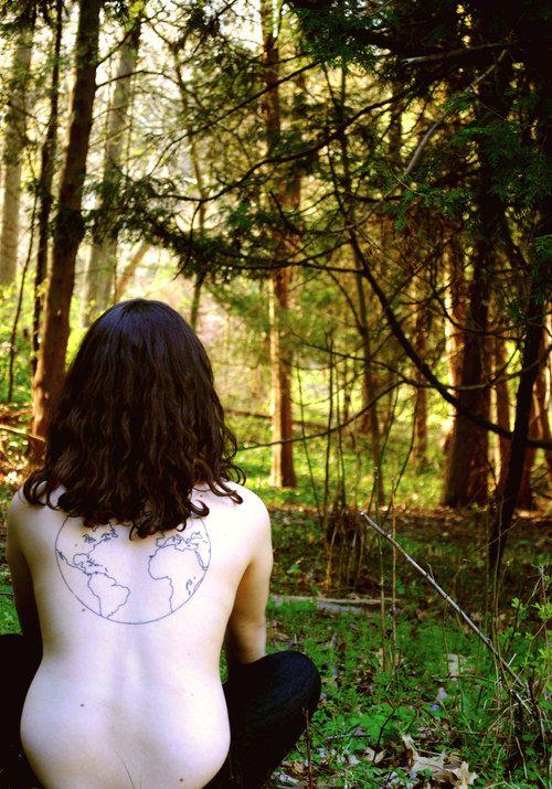 Globe tattoo on girl back