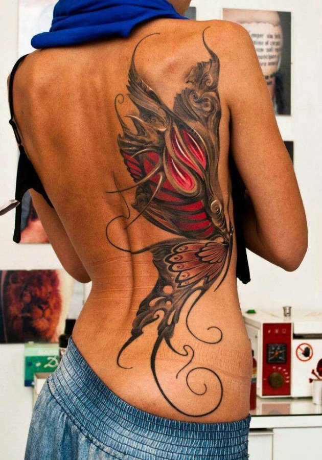 Gorgeous back red butterfly tattooo