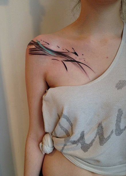 Gorgeous girl shoulder watercolor tattoo