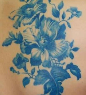 Gorgeous lovely blue flowers tattoos