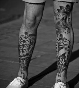Gorgeous men's ship tattoo on leg