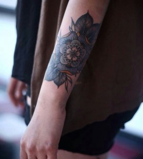 Gorgeous simple blue flowers tattoos
