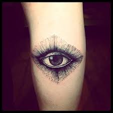 Gorgeous women's eye tattoo on leg
