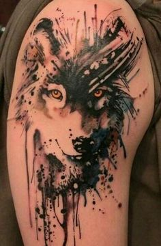 Great looking wolf tattoo on arm