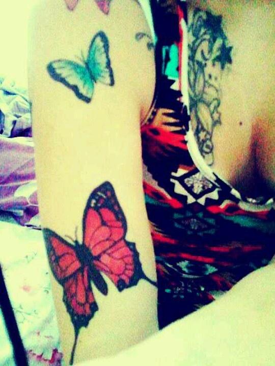 Great women red butterfly tattooo