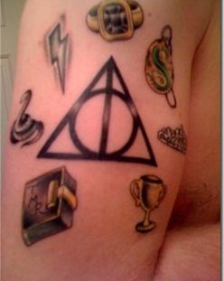Harry Poter style back book tattoo